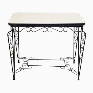 Tavolino Mid-Century in acciaio e formica, Francia, anni '50
