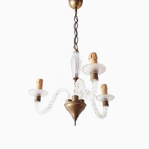 Lámpara de araña italiana Mid-Century de latón y vidrio, años 50