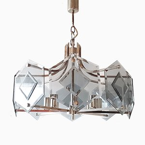German Smoked Glass and Chrome-Plated Chandelier from Sische, 1970s