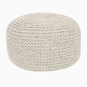 Crocheted Grey Woolen Pouf from SanFates