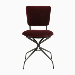 Burgundi Metal and Velvet Chair, 1950s