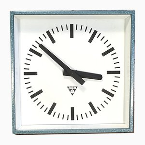 Industrial Square Wall Clock from Pragotron, 1970s