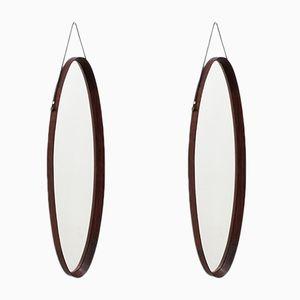 Oval Mid-Century Italian Teak Mirrors, Set of 2