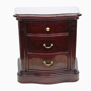 Italian Mahogany Bedside Table with Three Drawers, 1980s
