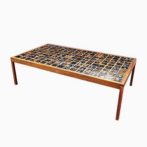 Mid-Century Danish Teak and Ceramic Coffee Table, 1960s