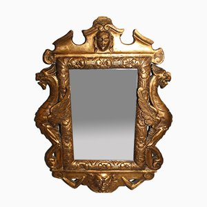 Antique Regency Mirror with Wooden Dragons & Carved Gilded Stucco