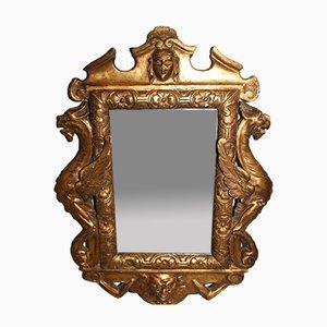 Espejo Regency antiguo con dragones de madera y estuco dorado tallado