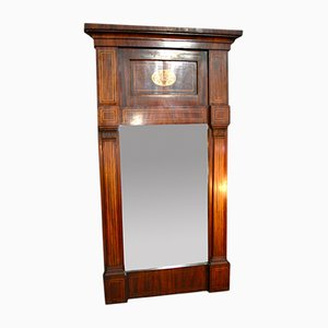Antique Charles X Trumeau Mirror with Veneer Frame