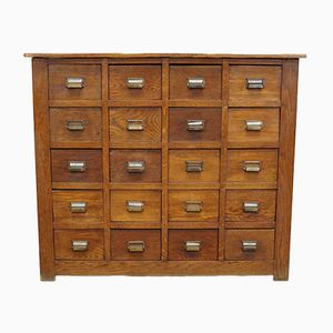 Vintage French Oak Apothecary Cabinet, 1930s