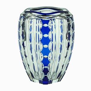 Blaue Art Deco Vase von Joseph Simon für Val Saint Lambert, 1920er