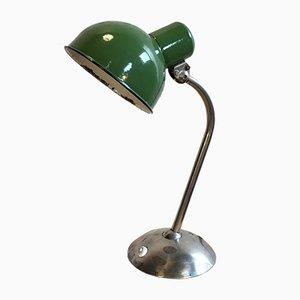 Lámpara de escritorio industrial vintage esmaltada en verde, años 30