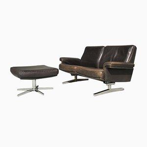 Vintage DS 35 2-Sitzer-Sofa mit Fußhocker von de Sede, 1970er