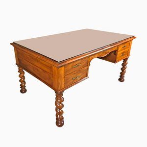 Louis XIII Notary Double Desk in Solid Walnut with Camel Leather Top