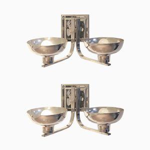 Belgische Art Deco Wandlampen aus vernickeltem Metall, 2er Set