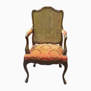 Antique Louis XV Style Armchair in Carved Walnut & Cane