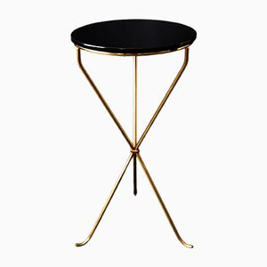 Round Brass Side Table, 1950s