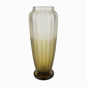 Jarrón Art Déco de cristal ahumado esmerilado de Charles Schneider, 1927