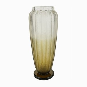Vase Art Deco en Verre Givré Fumé par Charles Schneider, 1927