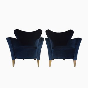 French Velvet Armchairs, 1980s, Set of 2
