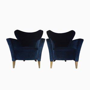 French Velvet Armchairs, 1980s, Set of 2