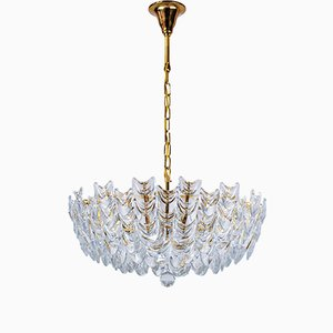 Gilt Brass and Glass Chandelier from Palwa, 1960s