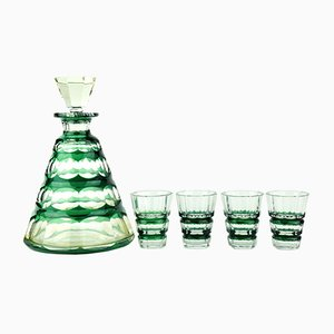 Dark Green Muscadet Service Set from Val Saint Lambert, 1930s
