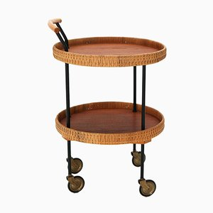 Round Rattan Serving Trolley, 1950s