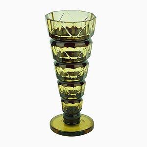 Jarrón Slender vintage de vidrio de Val Saint Lambert, años 30