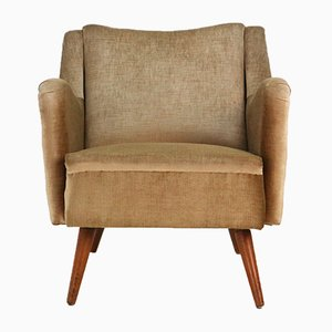 Gold Velvet and Beech Armchair, 1950s