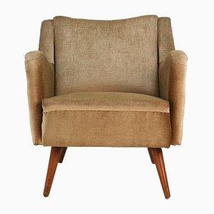Sessel aus Buche mit goldenem Samtbezug, 1950er