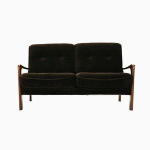 Brown Velvet and Teak Two-seater Sofa, 1970s