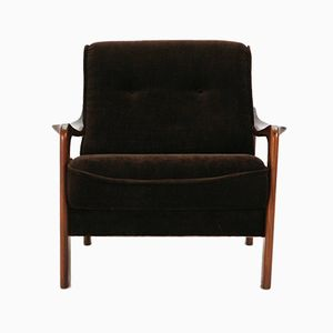 Brown Velvet and Teak Armchair, 1970s