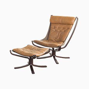 Falcon Chair & Fußhocker von Sigurd Resell für Vatne Møbler, 1970er