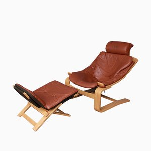Kroken Leather Armchair with Footstool by Åke Fribytter for Nelo Möbel, 1970s