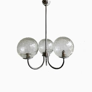 Vintage Chromed 3-Arm Pendant with Textured Globe Shades