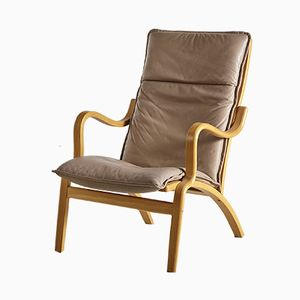 Oak and Beige Leather Armchair, 1960s