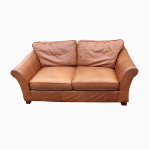 Two-Seater Tan Leather Sofa, 1970s