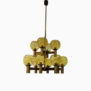 Mid-Century Brass & Glass Ceiling Lamp