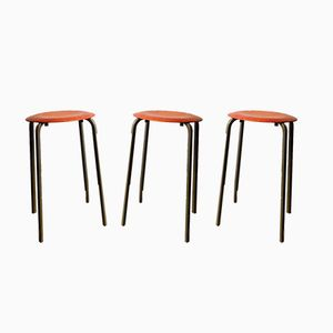 Vintage Plywood and Metal Stackable Stools, Set of 3