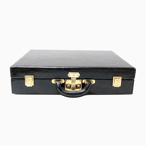 Vintage Koffer aus schwarzem Kalbsleder von Hermés, 1960er