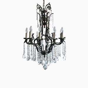 Large Vintage Chandelier with Crystal Pear Drops