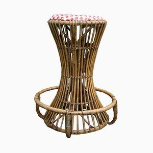 Sgabello Mid-Century in bambù di Tito Agnoli per Pierantonio Bonacina