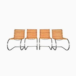 Chaises MR10 en Rotin et Chrome par Ludwig Mies van der Rohe, 1970s, Set de 4