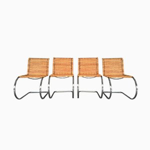 Rattan & Chrome MR10 Chairs by Ludwig Mies van der Rohe, 1970s, Set of 4