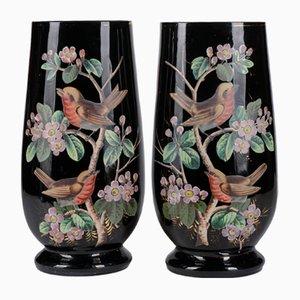 Vases 19ème Siècle en Opaline Noire avec Oiseaux Peints à la Main, France, Set de 2