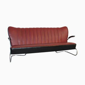 S400 3-Sitzer Freischwinger-Sofa von Mauser Werke Waldeck, 1930er