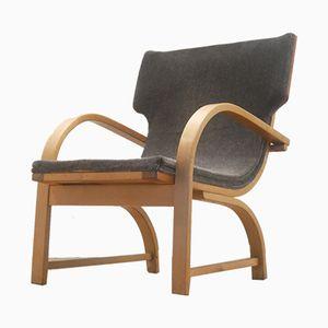 Mid-Century Scandinavian Plywood & Grey Textile Armchair