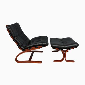 Leather Kengu Armchair and Ottoman by Elsa & Nordahl Solheim for Rybo Rykken, 1960s