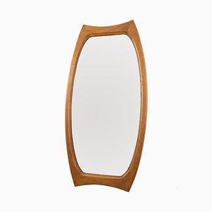 Espejo ovalado de teca, años 60