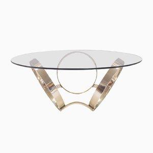 Table Basse à Trois Anneaux Vintage en Chrome et Verre, 1970s